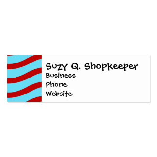 Fun Red Teal Turquoise Wavy Lines Stripes Pattern Mini Business Card