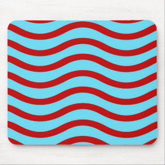 Fun Red Teal Turquoise Wavy Lines Stripes Pattern Mouse Pad