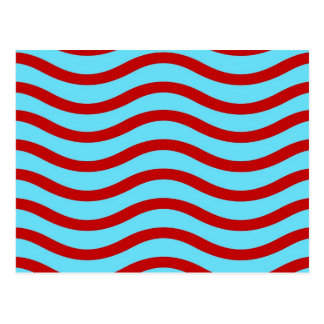 Fun Red Teal Turquoise Wavy Lines Stripes Pattern Postcard