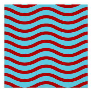 Fun Red Teal Turquoise Wavy Lines Stripes Pattern Poster