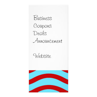 Fun Red Teal Turquoise Wavy Lines Stripes Pattern Rack Card