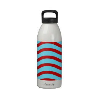 Fun Red Teal Turquoise Wavy Lines Stripes Pattern Drinking Bottle