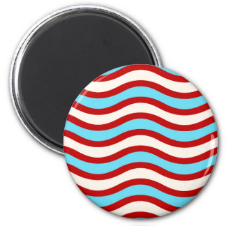 Fun Red Teal Turquoise White Wavy Lines Stripes 2 Inch Round Magnet