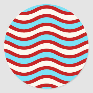 Fun Red Teal Turquoise White Wavy Lines Stripes Classic Round Sticker