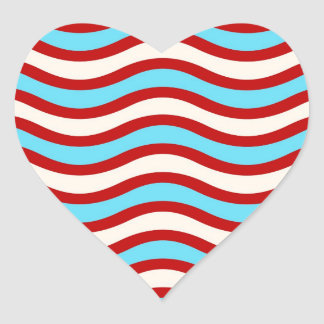 Fun Red Teal Turquoise White Wavy Lines Stripes Heart Sticker