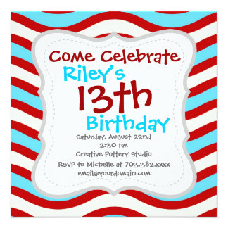 Fun Red Teal Turquoise White Wavy Lines Stripes Invitation