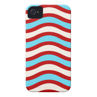 Fun Red Teal Turquoise White Wavy Lines Stripes iPhone 4 Case-Mate Case