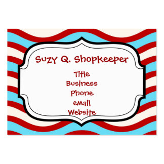 Fun Red Teal Turquoise White Wavy Lines Stripes Large Business Card