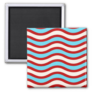 Fun Red Teal Turquoise White Wavy Lines Stripes Magnet