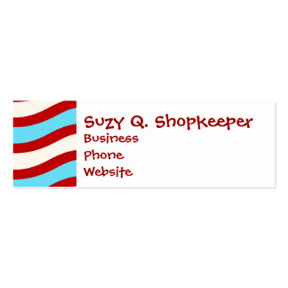 Fun Red Teal Turquoise White Wavy Lines Stripes Mini Business Card