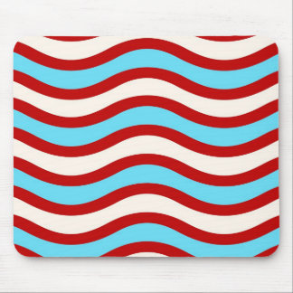 Fun Red Teal Turquoise White Wavy Lines Stripes Mouse Pad