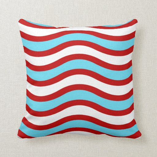 Fun red teal turquoise white wavy lines stripes throw for Turquoise and red throw pillows