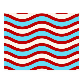Fun Red Teal Turquoise White Wavy Lines Stripes Postcard