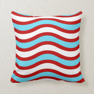 Fun Red Teal Turquoise White Wavy Lines Stripes Throw Pillow