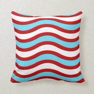 Fun Red Teal Turquoise White Wavy Lines Stripes Throw Pillow