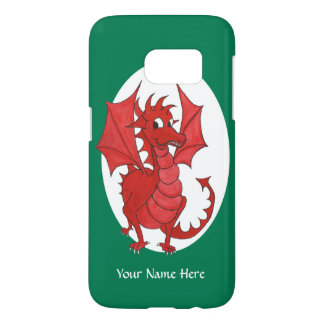 Fun Red Welsh Dragon on White and Green Samsung Galaxy S7 Case