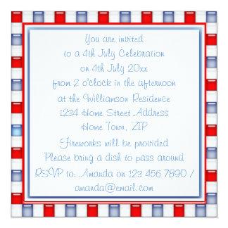 """Fun Red, White and Blue Patriotic Party Invitation 5.25"""" Square Invitation Card"""