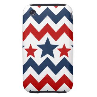 Fun Red White Blue Chevron Stars and Stripes Tough iPhone 3 Cases