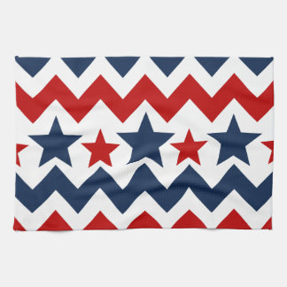 Fun Red White Blue Chevron Stars and Stripes Towels