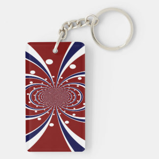 Fun Red White Blue Kaleidoscope Stripes Polka Dots Double-Sided Rectangular Acrylic Keychain