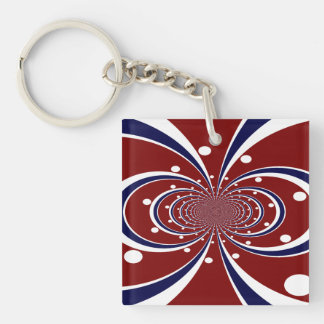 Fun Red White Blue Kaleidoscope Stripes Polka Dots Keychain