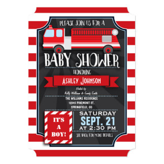 Fun, Red, & White Fire Truck Boy Baby Shower 5x7 Paper Invitation Card