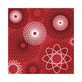 Fun Red White Geometric Pattern Spirograph Design Gallery Wrap Canvas