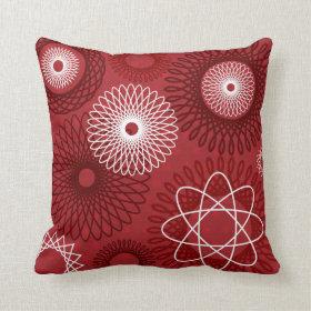 Fun Red White Geometric Pattern Spirograph Pillow