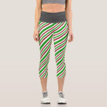 [ Thumbnail: Fun Red, White, Green Christmas-Inspired Lines Leggings ]