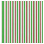 [ Thumbnail: Fun Red, White, Green Christmas-Inspired Lines Fabric ]