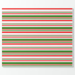 [ Thumbnail: Fun Red, White, Green Christmas Inspired Lines Wrapping Paper ]