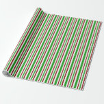 [ Thumbnail: Fun Red, White, Green Christmas-Inspired Lines Wrapping Paper ]