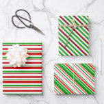 [ Thumbnail: Fun Red, White, Green Christmas-Inspired Lines Wrapping Paper Sheets ]