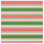 [ Thumbnail: Fun Red, White, Green Christmas-Inspired Pattern Fabric ]