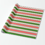 [ Thumbnail: Fun Red, White, Green Christmas-Inspired Pattern Wrapping Paper ]