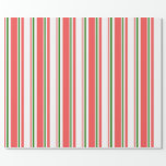 [ Thumbnail: Fun Red, White, Green Christmas Inspired Pattern Wrapping Paper ]