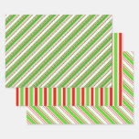 [ Thumbnail: Fun Red, White, Green Christmas-Inspired Patterns Wrapping Paper Sheets ]