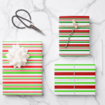 [ Thumbnail: Fun Red, White, Green Christmas Inspired Patterns Wrapping Paper Sheets ]