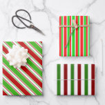 [ Thumbnail: Fun Red, White, Green Christmas Inspired Stripes Wrapping Paper Sheets ]
