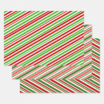 [ Thumbnail: Fun Red, White & Green Christmas Lines/Stripes Wrapping Paper Sheets ]