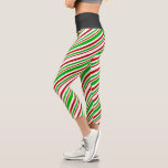 [ Thumbnail: Fun Red, White, Green Christmas Style Lines Leggings ]