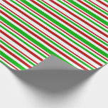 [ Thumbnail: Fun Red, White, Green Christmas Style Lines Wrapping Paper ]