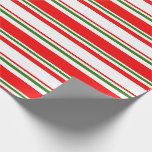 [ Thumbnail: Fun Red, White, Green Christmas-Style Pattern Wrapping Paper ]