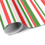 [ Thumbnail: Fun Red, White, Green Christmas-Style Stripes Wrapping Paper ]