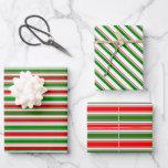 [ Thumbnail: Fun Red, White, Green Christmas-Themed Lines Wrapping Paper Sheets ]