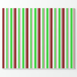[ Thumbnail: Fun Red, White, Green Christmas Themed Pattern Wrapping Paper ]