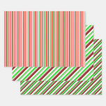 [ Thumbnail: Fun Red, White, Green Christmas Themed Patterns Wrapping Paper Sheets ]