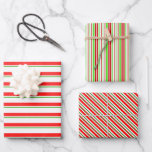 [ Thumbnail: Fun Red, White, Green Christmas Themed Stripes Wrapping Paper Sheets ]