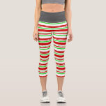 [ Thumbnail: Fun Red, White, Green Colored Christmas-Inspired Leggings ]