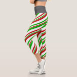 [ Thumbnail: Fun Red, White, Green Colored Christmas Inspired Leggings ]